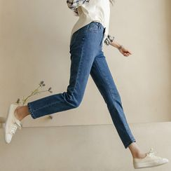 JUSTONE(ジャストワン) - Band-Waist Slim-Fit Jeans