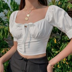 HERMITAKH - Bow Detail Short-Sleeve Cropped Blouse