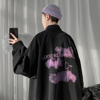 JUN.LEE - Printed Back Oversized Shirt