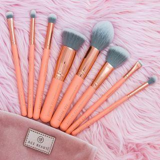 Ace Beaute - 8 Piece Blush Brush Set with Velvet Pouch
