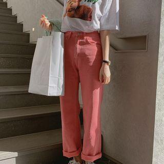 YANSAE - Vivid-Color Wide-Leg Pants