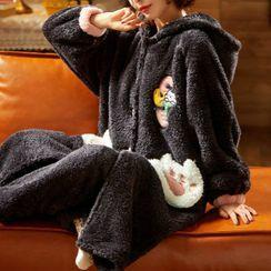 Jeony - 家居服套装: 珊瑚绒连帽睡袍 + 长裤
