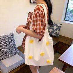 Milha - Canvas Floral Applique Shopper Bag