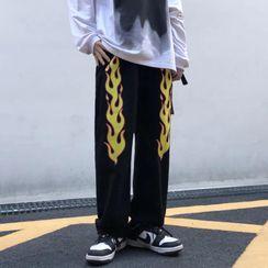 2DAWGS(2ドーグス) - Fire Flame Print Wide Leg Jeans