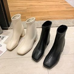 Moonwalk - Block-Heel Square-Toe Short Boots
