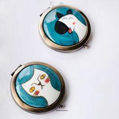 Heliotrope - 陶瓷動物便携式鏡子