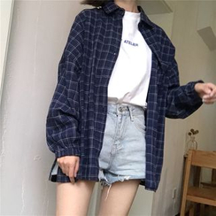 Moon City - Oversized Plaid Shirt