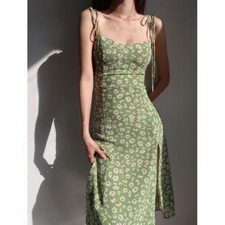 Honmizz - 细肩带碎花开衩塑身连衣长裙