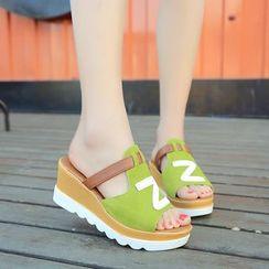 KONIN - Wedge-Heel Peep Toe Sandals