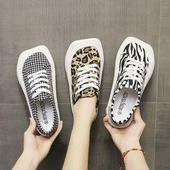 Vindler - Print Square Toe Lace Up Sneakers