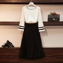 Sugar Town - Long-Sleeve Contrast Ling Knit Top / Midi A-Line Mesh Skirt / Set