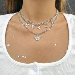 Seirios - 套裝: 字母飾物貼脖項鏈 + 吊墜項鏈