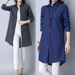 Ashlee - Pinstriped Long Shirt