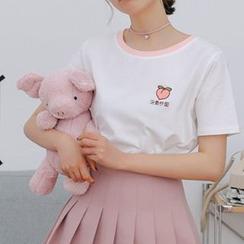 Miahynn - Short-Sleeve Fruit Embroidered T-Shirt