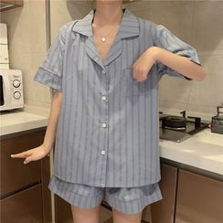 Gecko - Pajama Set: Short-Sleeve Striped Shirt + Shorts