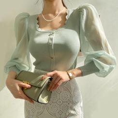 DABAGIRL(ダバガール) - Chiffon Bishop-Sleeve Knit Top
