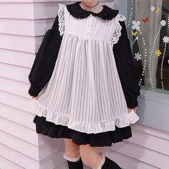 Tiny Times - 蕾丝边背带裙 / 荷叶边长袖娃娃连衣裙 / 套装
