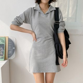 MERONGSHOP - Tie-Waist Mini Polo Dress