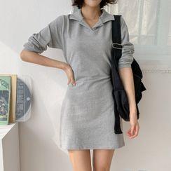 MERONGSHOP - Tie-Waist Mini Polo Dress