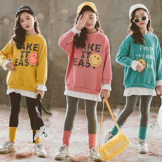 Cuckoo - Kids Set: Smiley Face Sweatshirt + Leggings