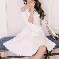 Glaypio - Off-Shoulder Ruffled A-Line Dress
