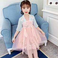 Qin Qin - Kids Elbow-Sleeve Embroidered Midi A-Line Mesh Dress