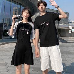 Azure - Couple Matching Lettering Short-Sleeve T-Shirt / A-Line Dress / Shorts