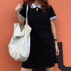Cloud Nine - Contrast Trim Short-Sleeve Mini Polo Dress