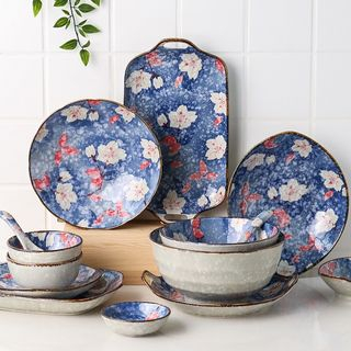 Kawa Simaya - Floral Print Ceramic Plate / Bowl / Spoon