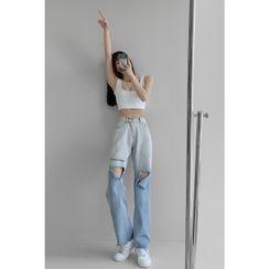 Shira - 渐变破洞高腰直筒牛仔裤