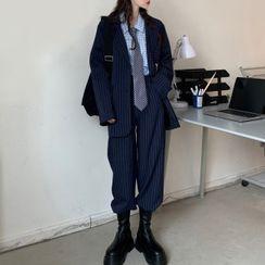 Bylindra - Striped Blazer / Dress Pants / Shirt / Chain / Set