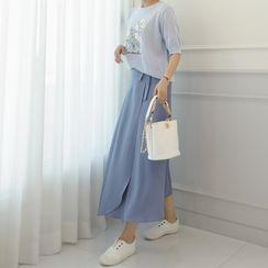 Lemite - Tie-Waist Maxi Wrap Skirt