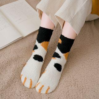 Lychee - 三件套裝:貓爪抓毛襪子