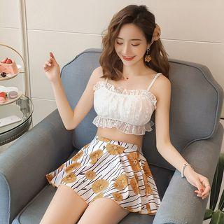 Salanghae - Set: Flower Print Bikini + Swim Skirt