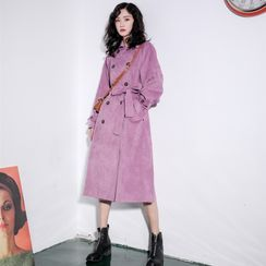 Whisperwind - Double-Breasted Corduroy Trench Coat