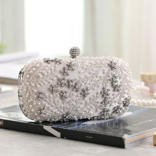 Moonflower - Rhinestone Clutch with Chain Strap