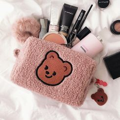 Ikiana - Bear Embroidered Chenille Makeup Bag