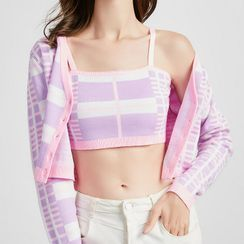 Pandaramma - Set: Patterned Cropped Cardigan + Knitted Camisole Top