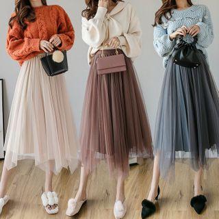 Gray House - Asymmetric Midi A-Line Mesh Skirt
