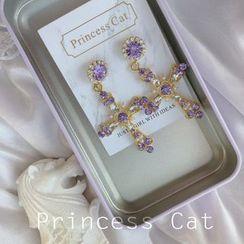 Princess Cat  - Rhinestone Cross Dangle Earring