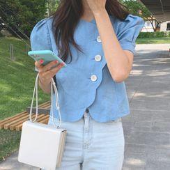 MIKIGA - 不对称纯色泡泡短袖短款衬衫