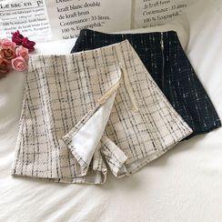 Wilder Dreams - Asymmetrical High-Waist Tweed A-Line Shorts