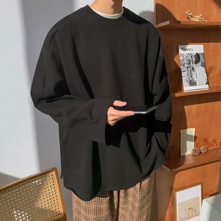 MRCYC - Plain Long-Sleeve Loose-Fit Pullover