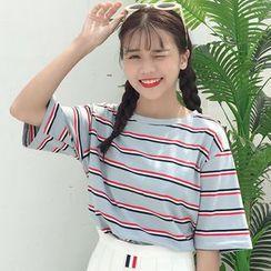 Chogen - 短袖条纹T裇