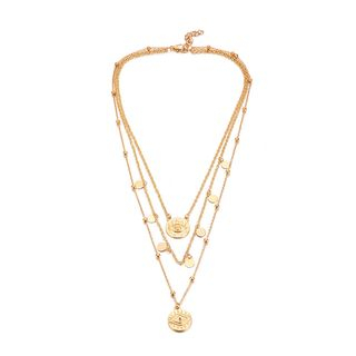 Yongge - Alloy Disc Pendant Layered Necklace