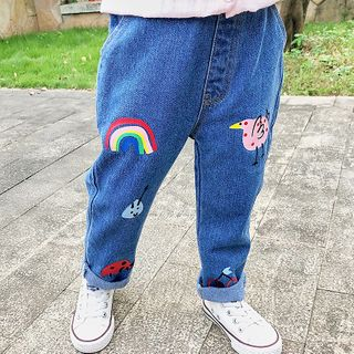 Shaneebabe - Kids Cartoon Print Straight-Cut Jeans