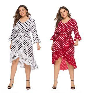Chelsie Chic - Plus Size Asymmetrical Hem Dotted A-Line Dress