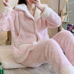 Jezpa - Maternity Pajama Set: Fleece Jacket + Lounge Pants