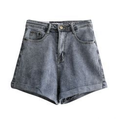 Tomato Shop - 高腰水洗牛仔宽腿短裤