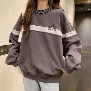 IndiGirl - Long-Sleeve Striped Panel Lettering Sweatshirt